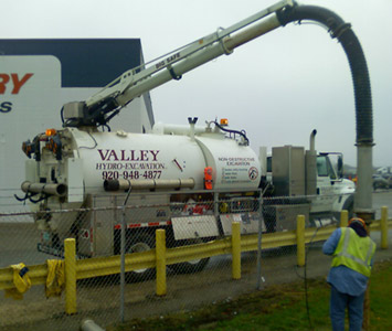 Valley Hydro Excavation's truck on the job